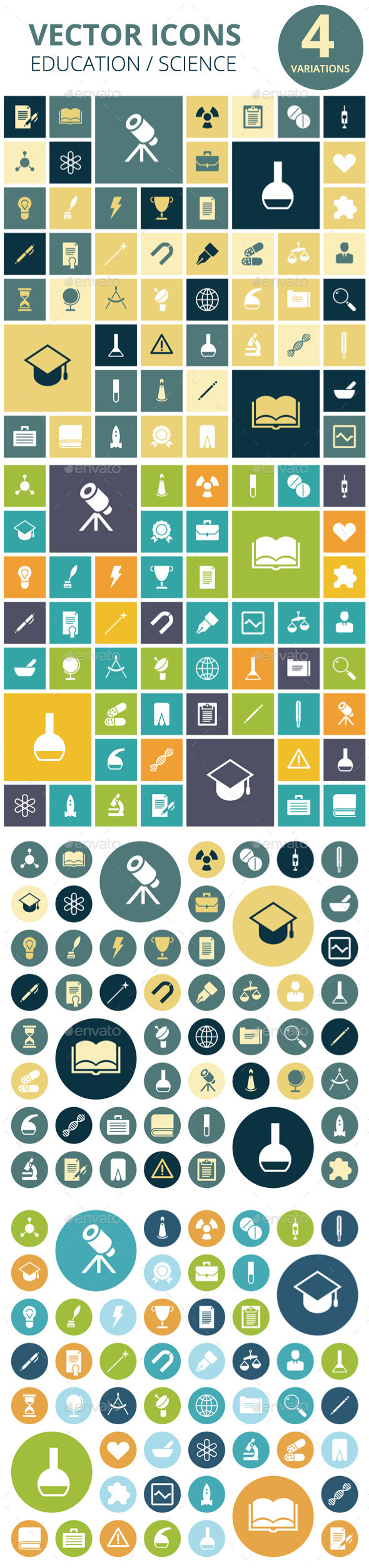 GraphicRiver Flat Design Icons for Education and Medical 9115029