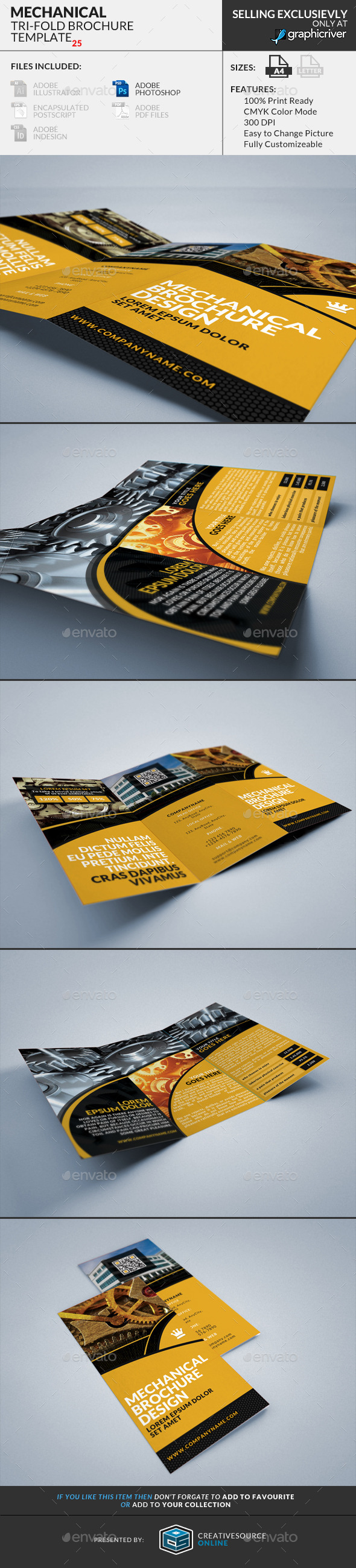 GraphicRiver Trifold Brochure 25 Mechanical 9165253