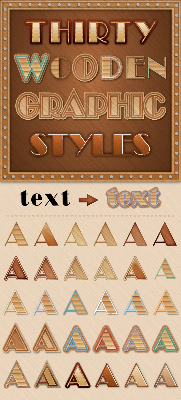 GraphicRiver Wooden Graphic Styles 9166141