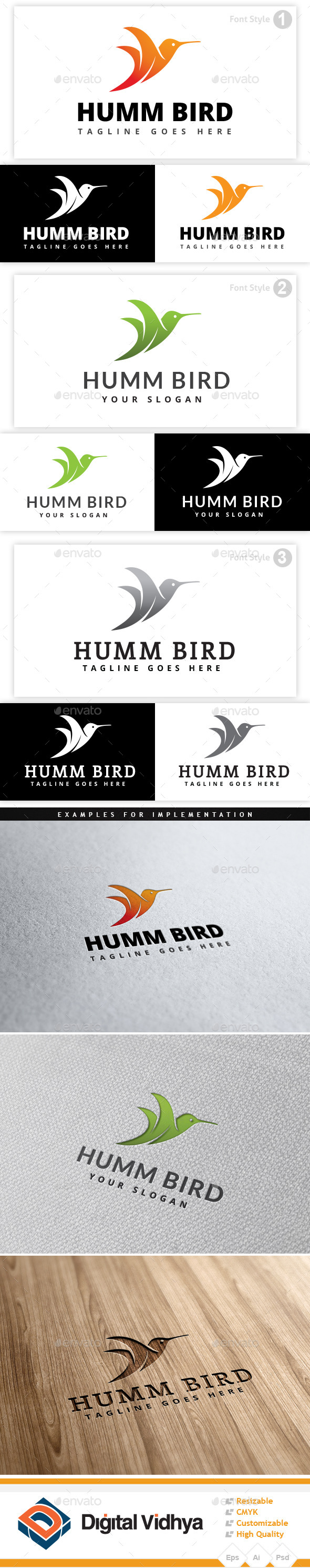 GraphicRiver Hummingbird Logo 9166315