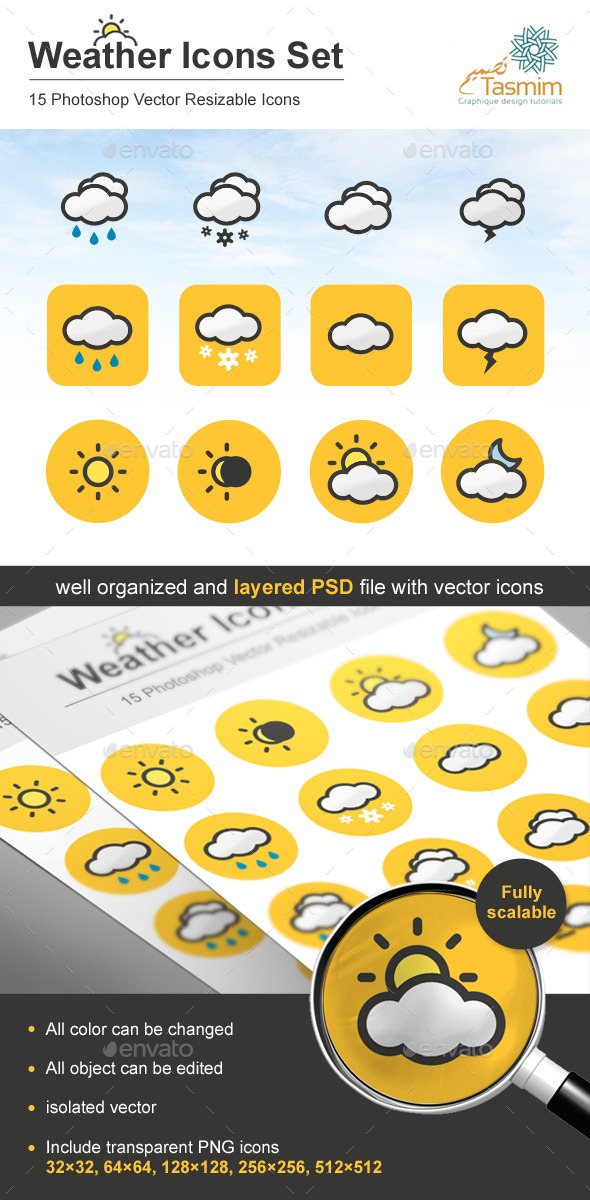 GraphicRiver Weather Icons Set 9166338
