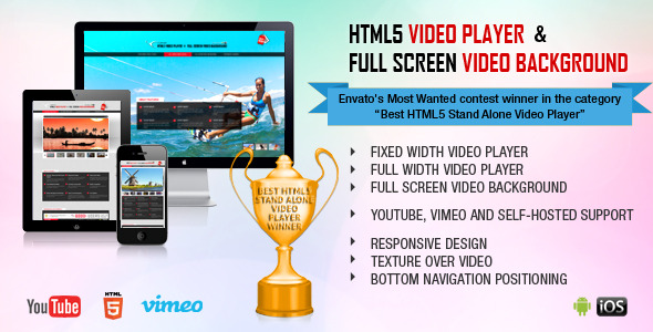 HTML5 VIDEO PLAYER FULL SCREEN VIDEO BACKGROUND Most Wanted contest winner the category HTM.5 Stand Alone Video FIXED WIDTH VIDEO PLAYER FULL WIDTH ViDEO PLAYER FUILSCREEN VIDEO BACKGROUND YOIJTURE, VIMEO AND SUPPORT RESPONSIVE DESIGN TEXTUREOVERVIDEO BO1TOM NAVIGATION POSITIONING inc