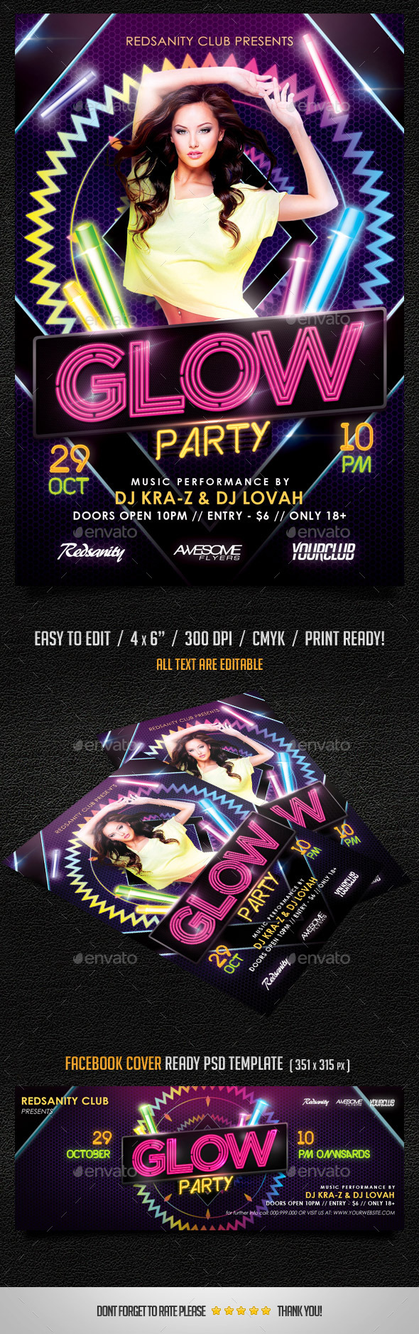 GraphicRiver Glow Party Flyer plus FB Cover 9167125