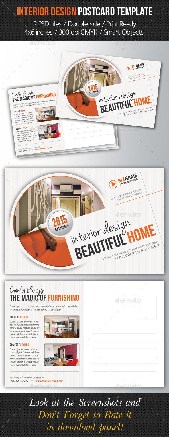 GraphicRiver Interior Design Postcard Template 9167429