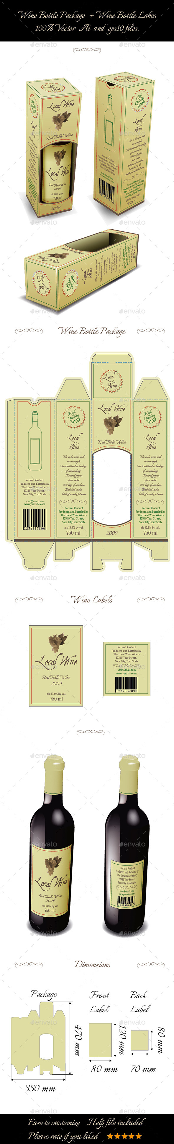 GraphicRiver Wine Bottle Package And Bottle Labels 9153969