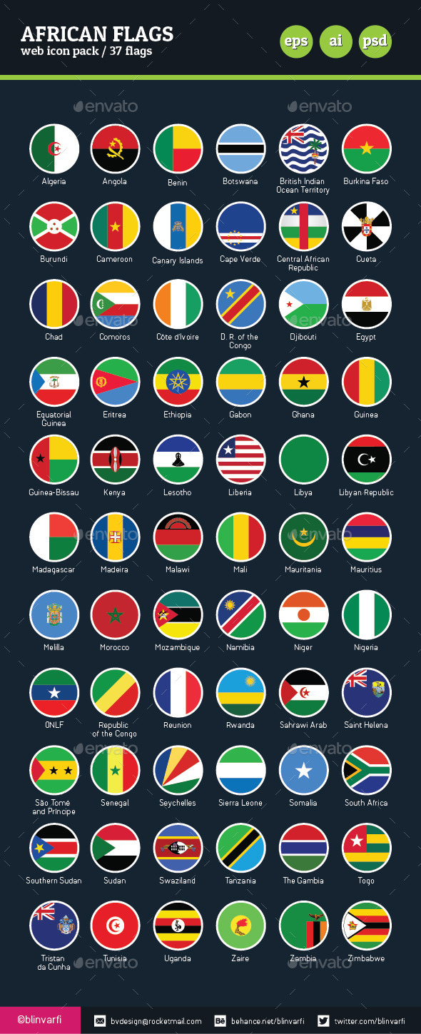 African Flags Vector Flat & Glossy