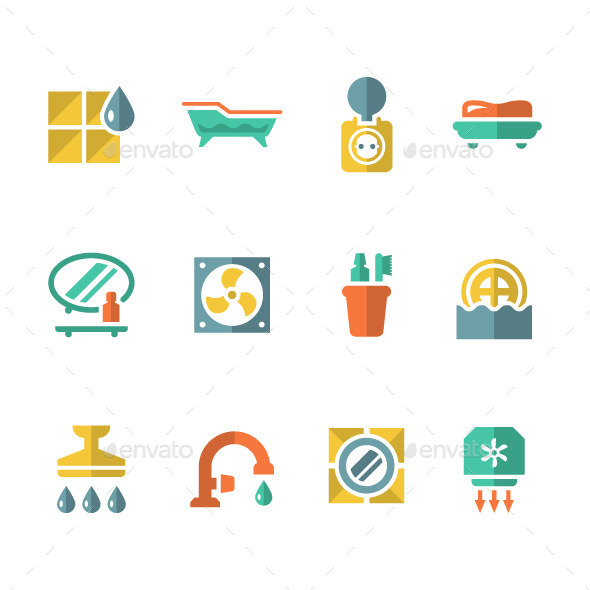 GraphicRiver Set Flat Icons of Bathroom 9167728