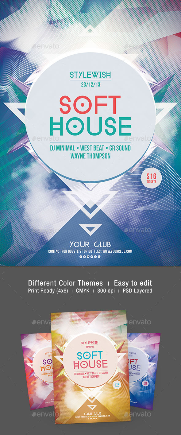 Soft House Flyer - Clubs & Parties Events