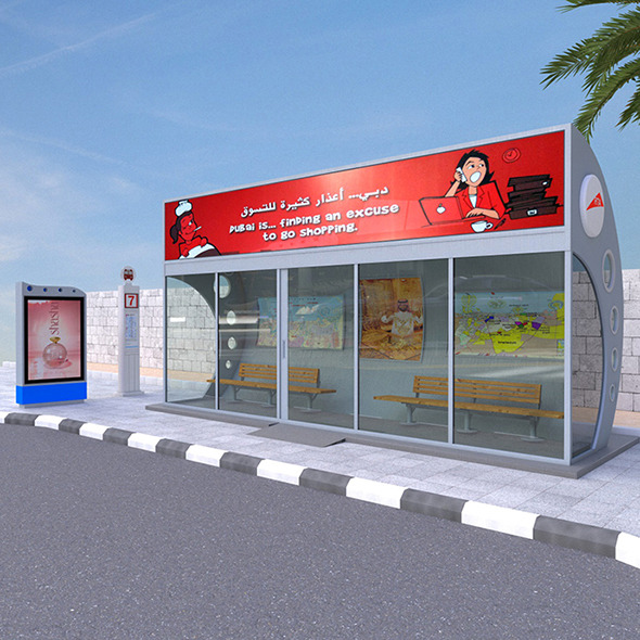 Dubai Bus Stop - 3DOcean Item for Sale