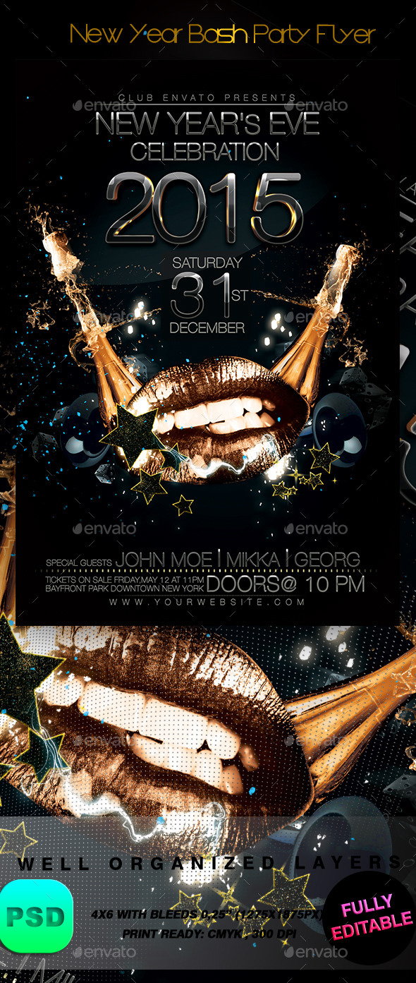 GraphicRiver New Year Bash Party Flyer 9168004