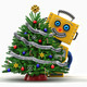 Happy toy robot behind christmas tree - PhotoDune Item for Sale