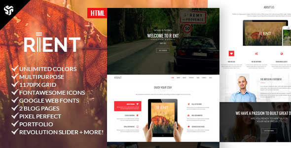 ThemeForest Rient Multi-Purpose Parallax Landing Page 9139243
