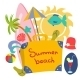 Colorful Beach Print with Cartoon Elements - GraphicRiver Item for Sale