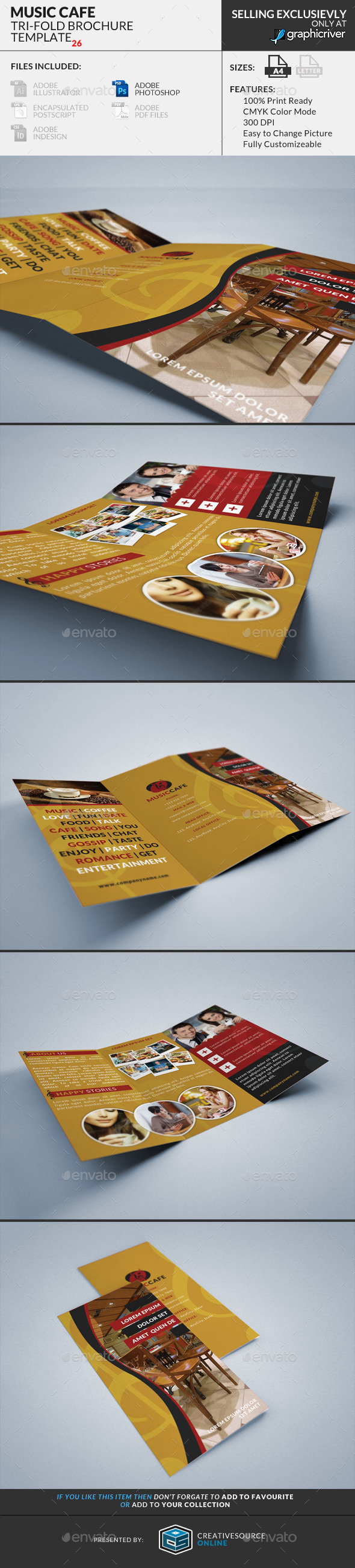 GraphicRiver Trifold Brochure 26 Music Cafe 9169471