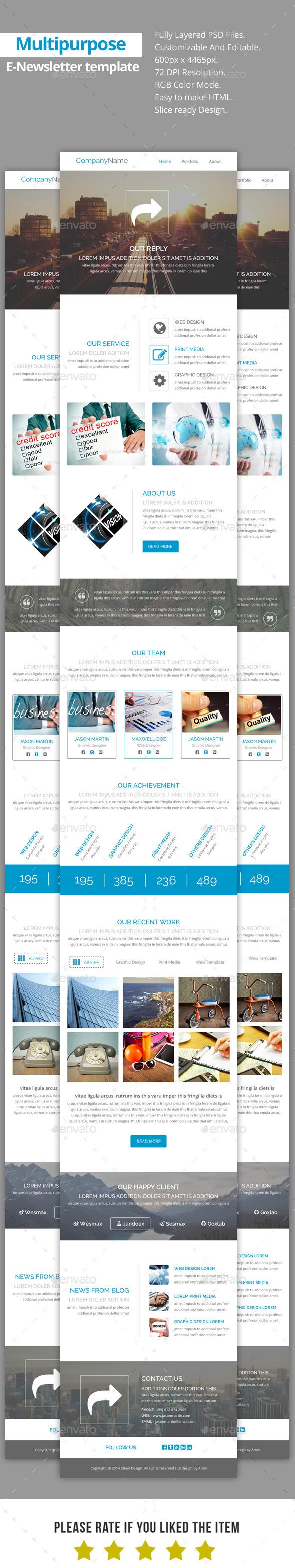 GraphicRiver Reply-Multipurpose E-Newsletter Template 9170246