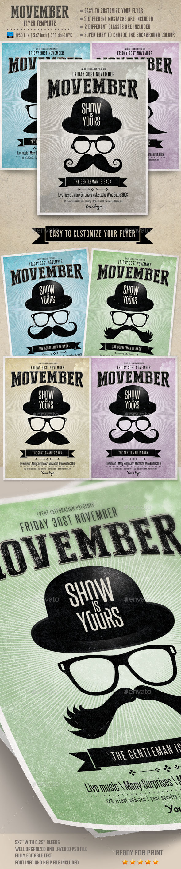 GraphicRiver Movember Flyer Template 9170502