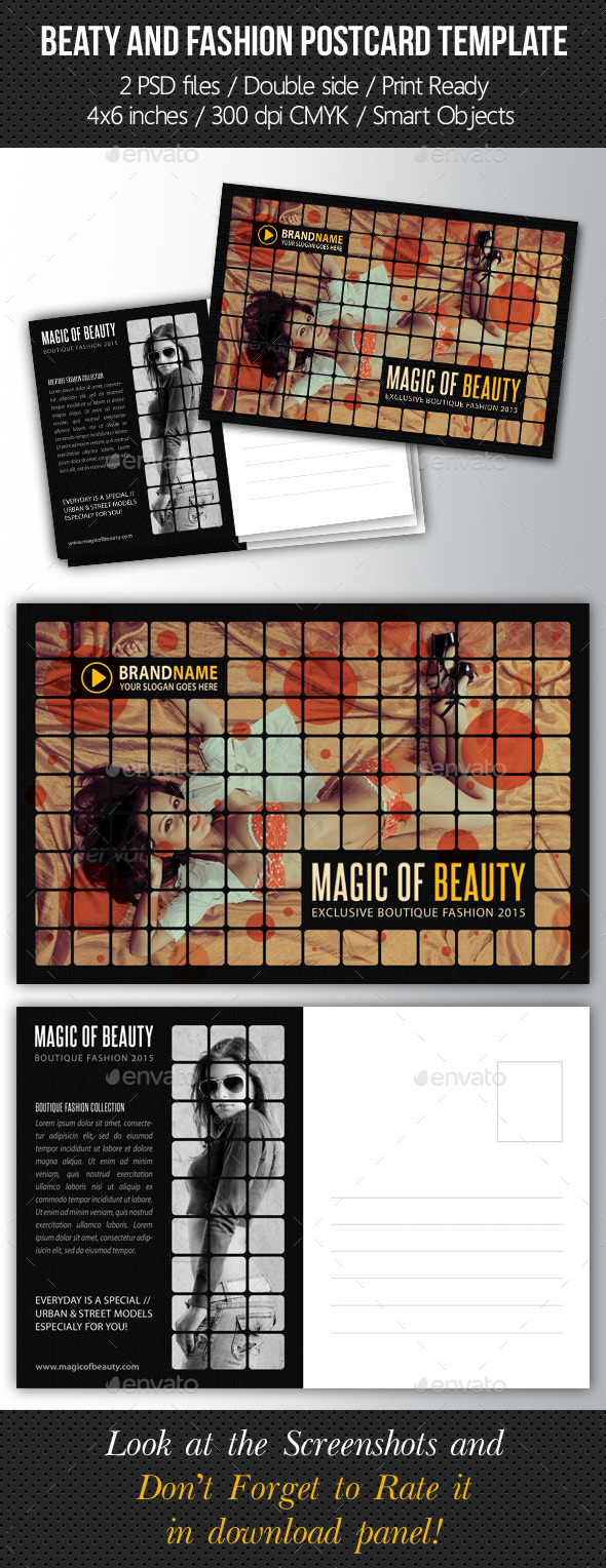 GraphicRiver Fashion and Beauty Postcard Template 9170900