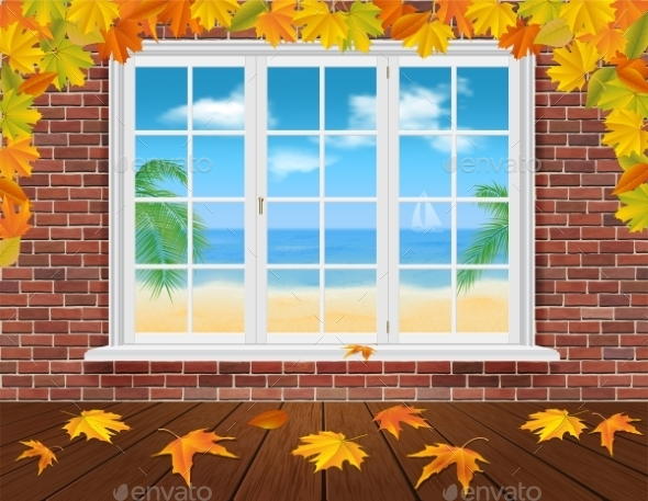 GraphicRiver Autumn Wall and Summer Window 9170985