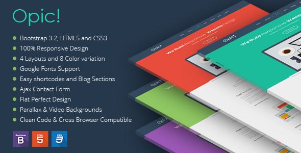 ThemeForest Opic Flat One Page Responsive Template 9136223