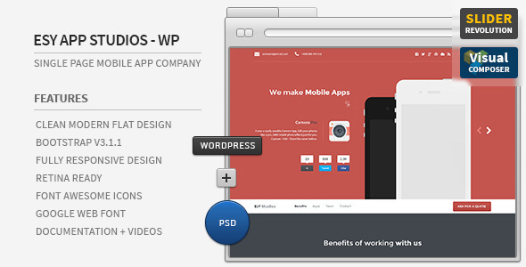 Esy App Responsive Wordpress One Page Theme - Technology WordPress