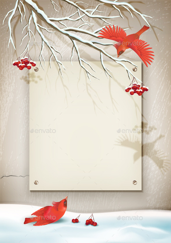 GraphicRiver Winter Landscape with Birds 9173419
