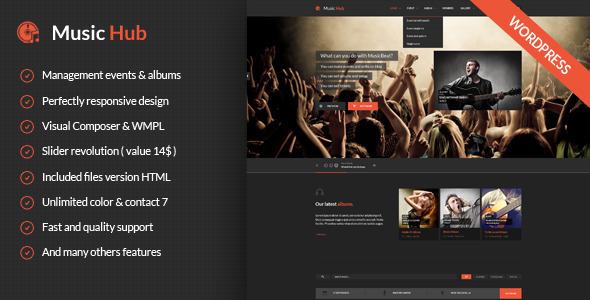 MusicHub Music Band Club Party Wordpress Theme