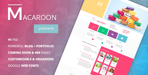 ThemeForest Macaroon Creative Patisserie PSD Template 9060830