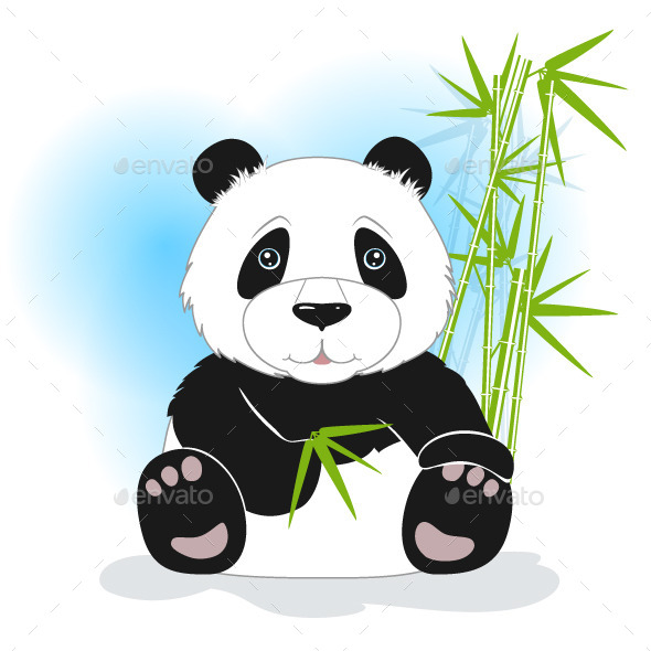 Sitting Panda with Green Bamboo