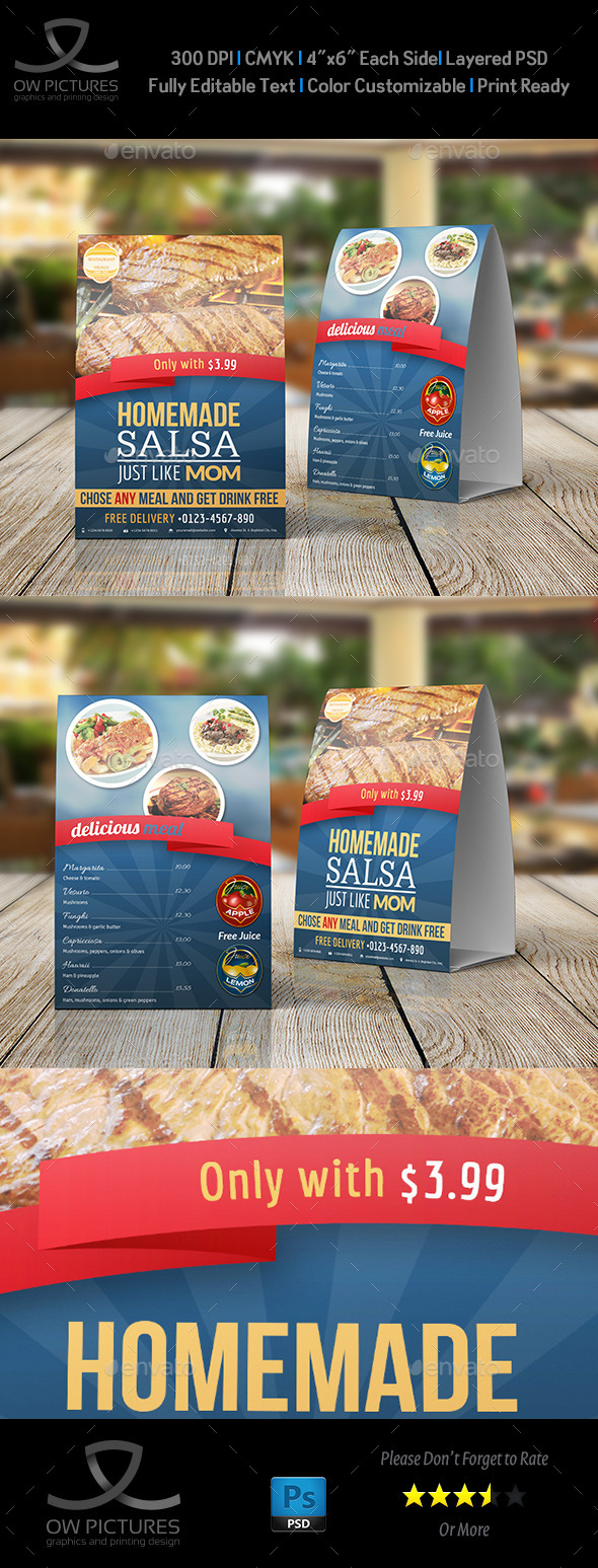 GraphicRiver Restaurant and Cafe Table Tent Template Vol2 9175916