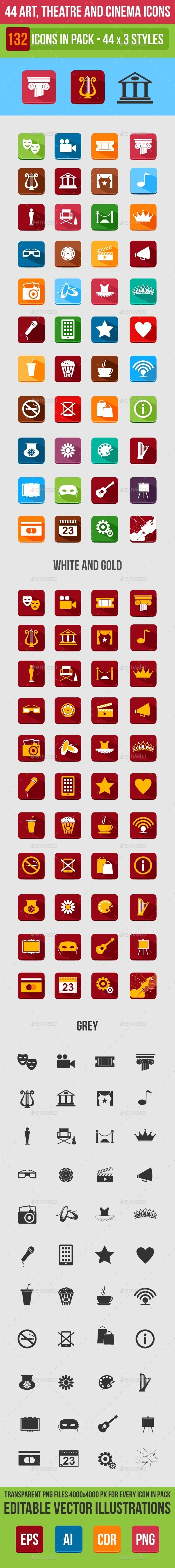 GraphicRiver 44 Art Theater and Cinema Flat Icons 9176170