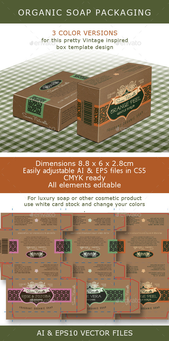 GraphicRiver Soap Box Brown Box for Organic Soap Bar 9164039