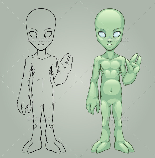 GraphicRiver Green Alien 9177217
