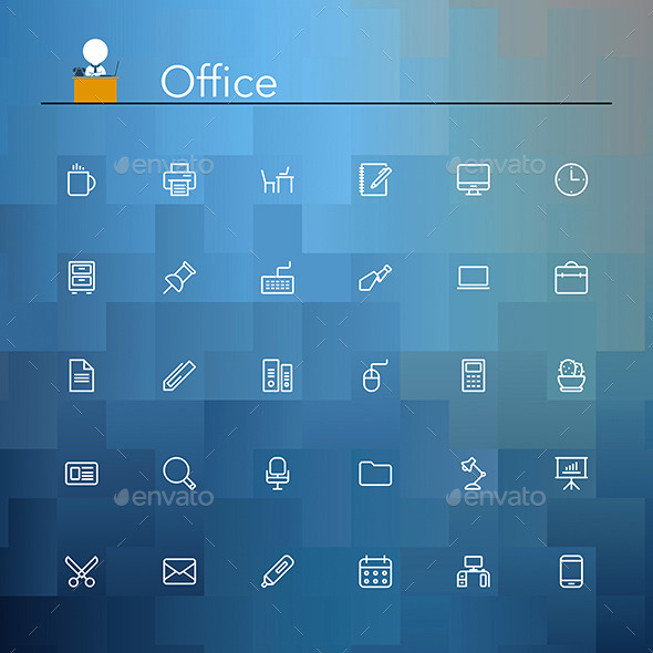 GraphicRiver Office Line Icons 9177260