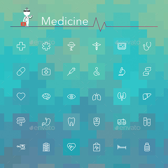 GraphicRiver Medicine Line Icons 9177261