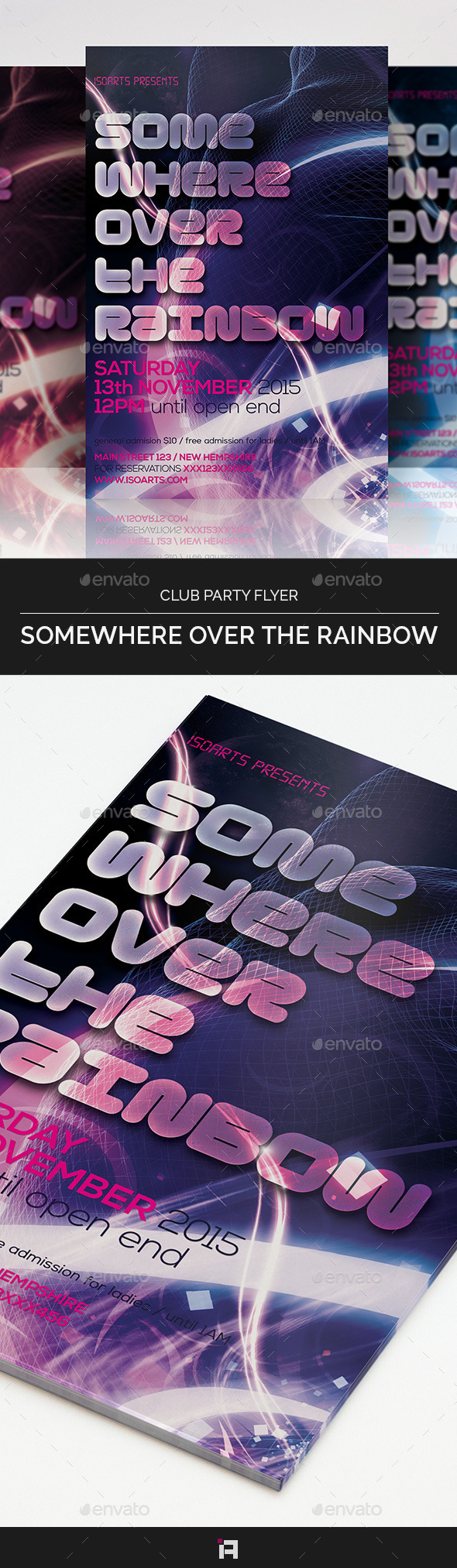 GraphicRiver Somewhere over the Rainbow Club Party Flyer 9177387