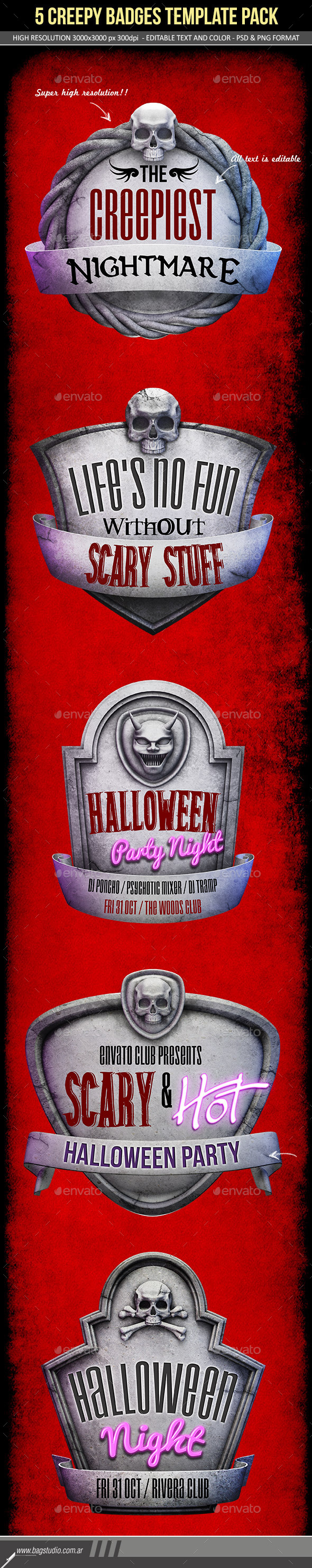 GraphicRiver Creepy Stone Halloween Badges Pack 9177427