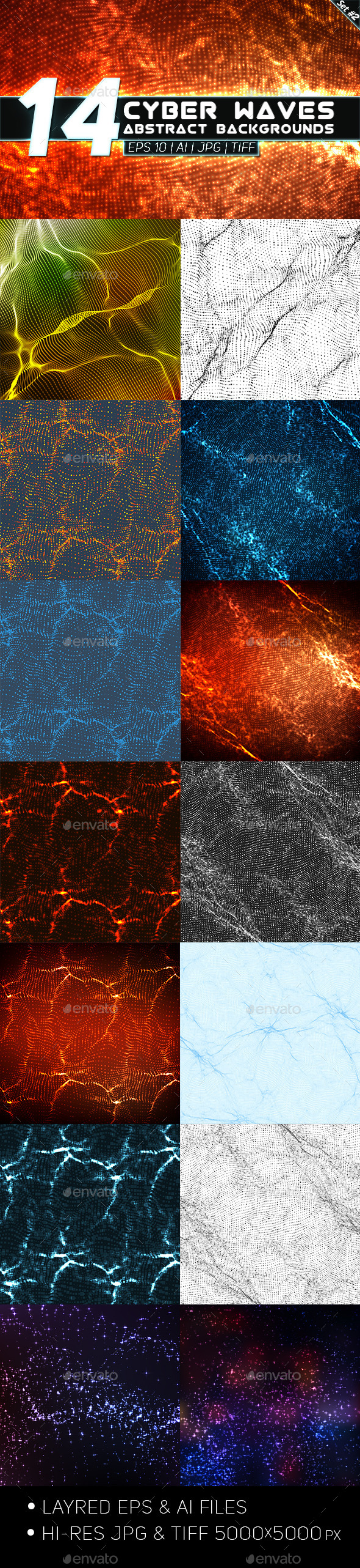 GraphicRiver 14 Abstract Cyber Waves Backgrounds Set 2 9177433