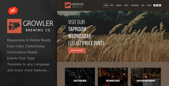 Growler Brewery WordPress Theme