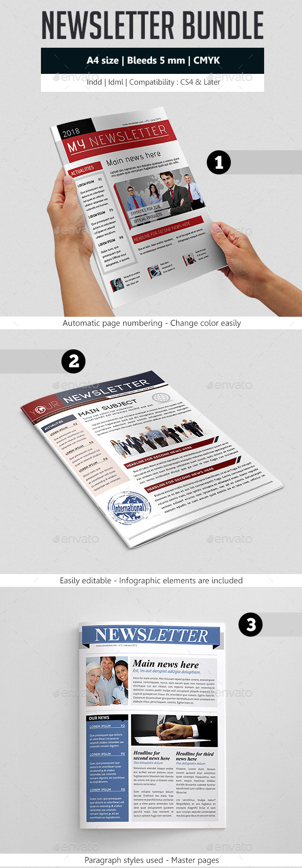 GraphicRiver Indesign Newsletter Template Design Bundle 9177794
