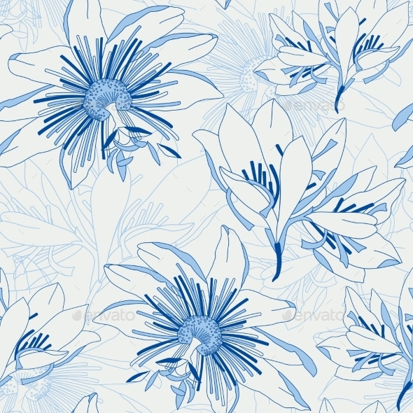 GraphicRiver Seamless Blue Pattern with Flowers Lily 9177802