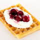 Waffle with cream and cherries - PhotoDune Item for Sale