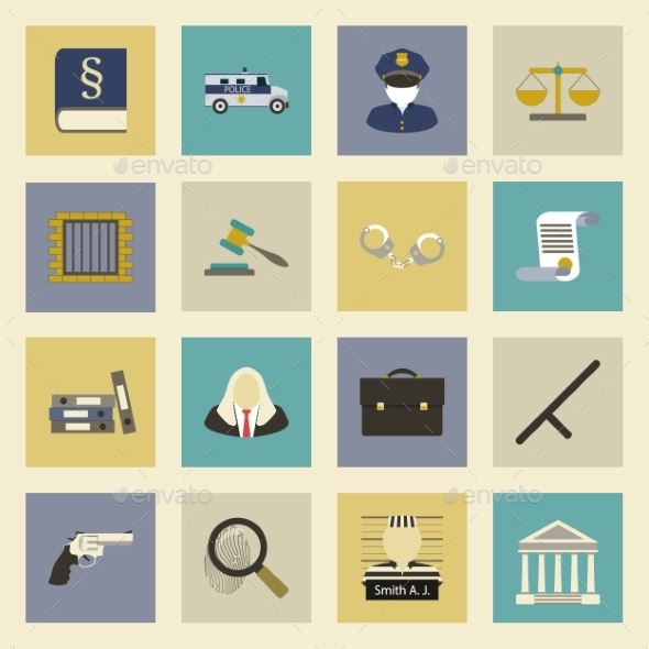 GraphicRiver Law and Justice Flat Icons Set 9177878