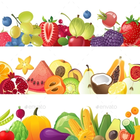 GraphicRiver Fruits Vegetables and Berries Borders 9178046