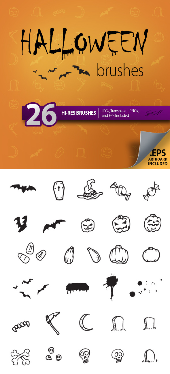 GraphicRiver 26 Hi-Res Halloween Sketches Brush Set 9178432