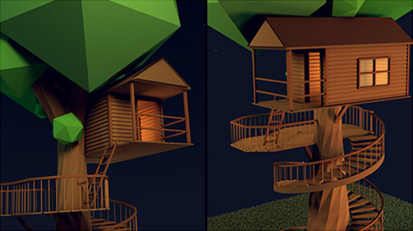 3DOcean Low-Poly Tree House 9178650