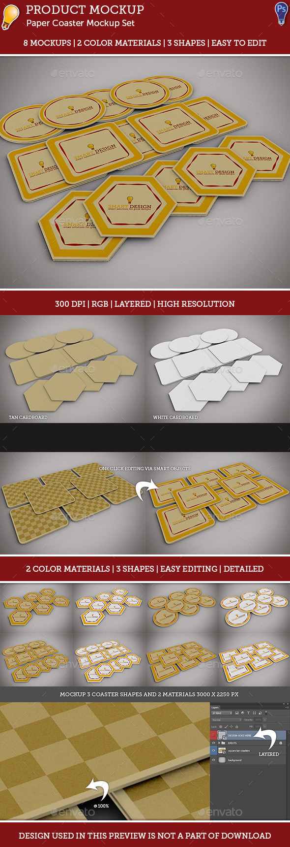 GraphicRiver Paper Coaster Mockup Set 9158502