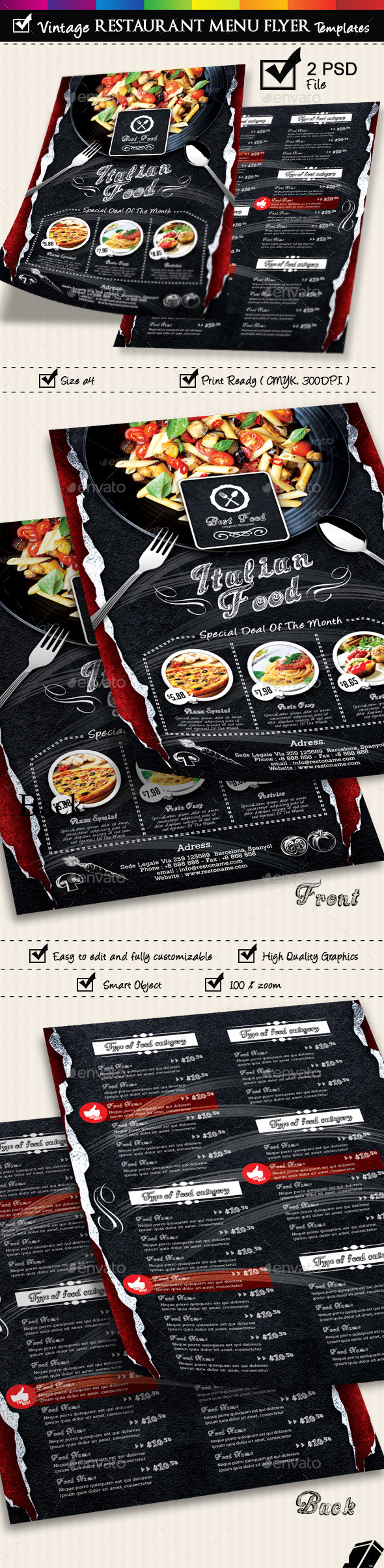 GraphicRiver Restaurant Menu Flyer Templates Vintage Texture v3 9179280