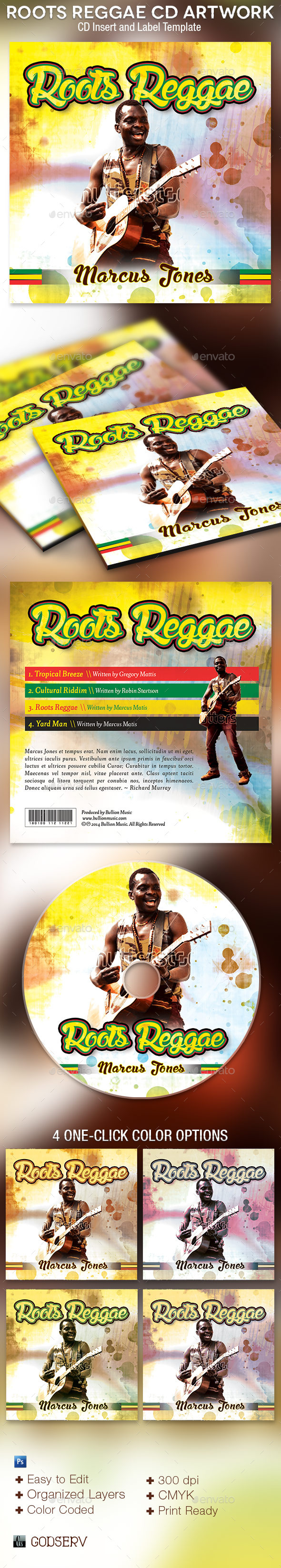 GraphicRiver Roots Reggae CD Artwork Photoshop Template 9179287