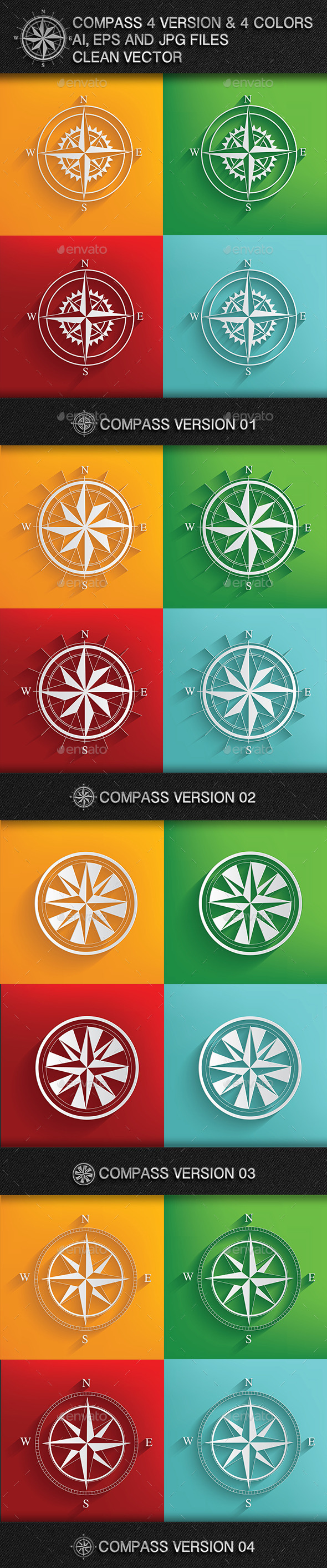 GraphicRiver 4 Compass & 4 Colours 9180182