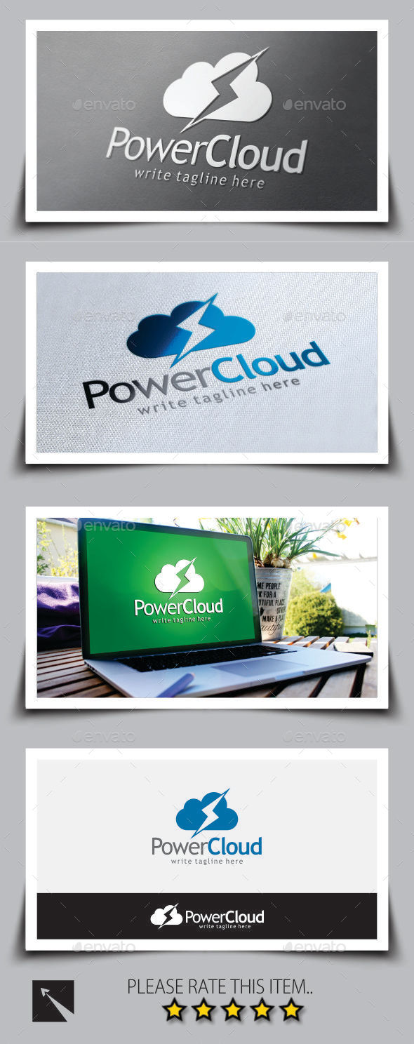 GraphicRiver Power Bolt Cloud Logo Template 9181083